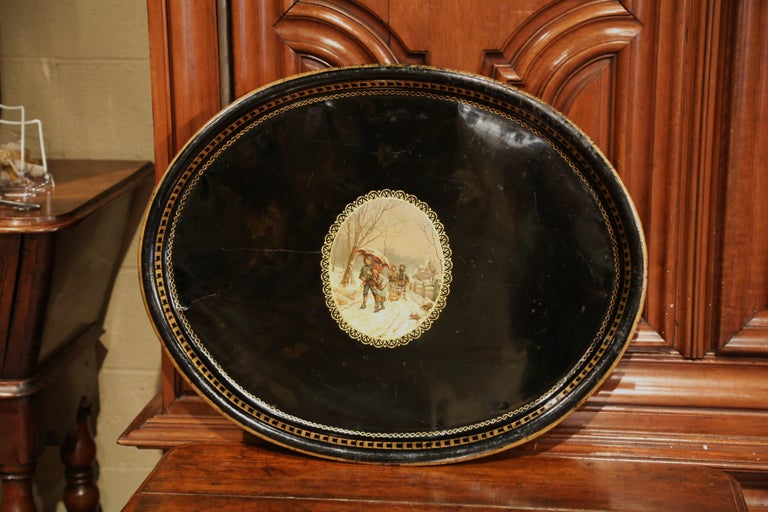 Tôle 19th Century French Napoleon III Oval Tole Tray with Hand Painted Medallion For Sale