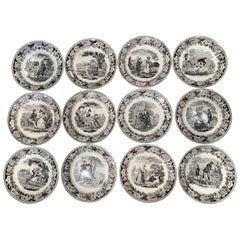 19th Century French Napoleon III Black and White Ceramic Plates, Set of 12