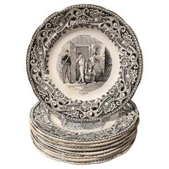 19th Century French Napoleon III Black and White Plates from Gien, Set of 8