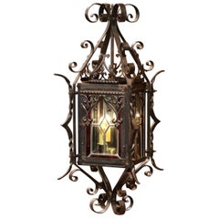 19th Century French Napoleon III Black Iron and Stained Glass Lantern