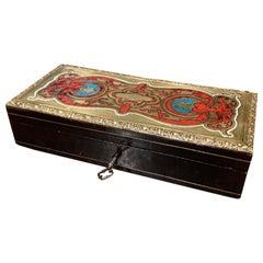 19th Century French Napoleon III Blackened Walnut and Brass Jewelry Box