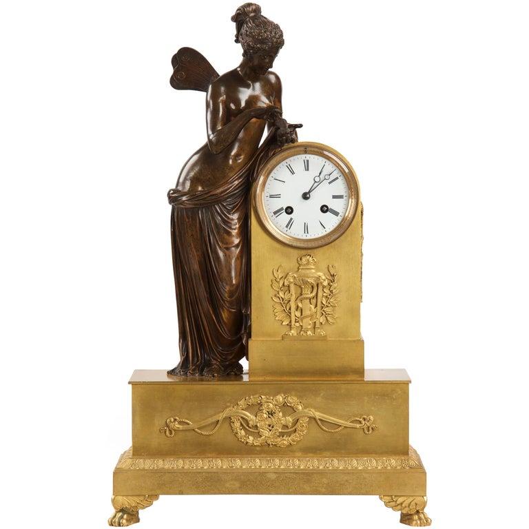 19th Century French Napoleon III Bronze Antique Mantel Clock of Psyche