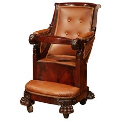 19th Century French Napoleon III Carved Child Armchair with Tray and Potty Hole