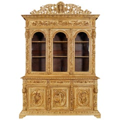 19th Century French Napoleon III Carved Oak Three-Door Hunt Bookcase Cabinet