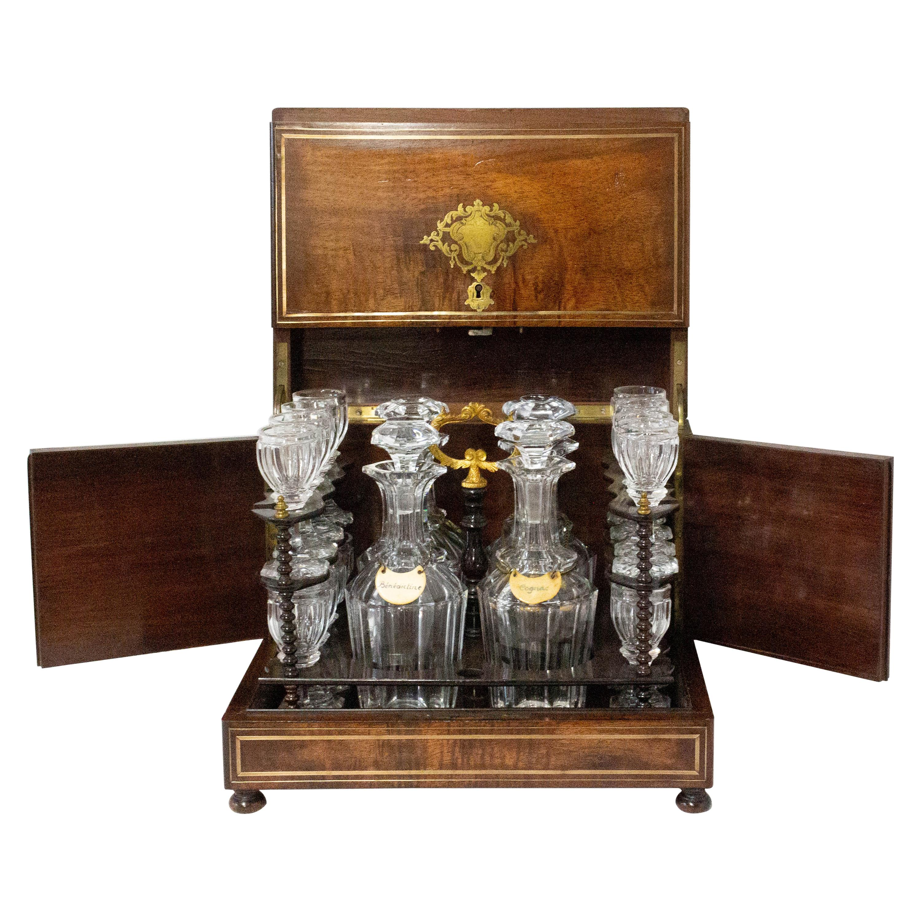 19th Century French Napoleon III Cave a Liqueur Brass and Mahogany