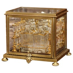 19th Century French Napoleon III Complete Gilt Bronze and Glass Cave a Liqueur