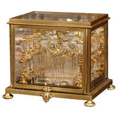 19th Century French Napoleon III Complete Gilt Bronze and Glass Liquor Box