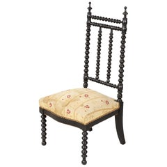 19th Century French Napoleon III Ebonized Bobbin Nursing Chair