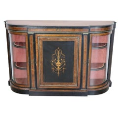 19th Century French Napoleon III Ebonized Inlay Wood Cabinet with Vetrine