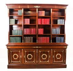 19th Century French Napoleon III Empire Mahogany Bookcase Cabinet