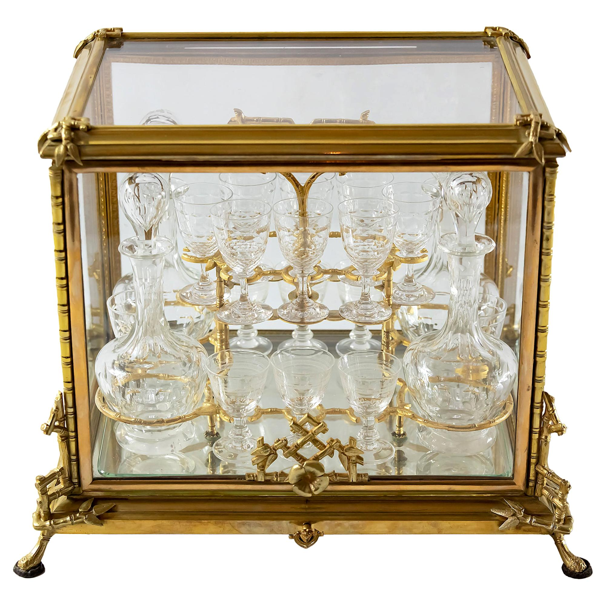 19th Century French Napoleon III Gilded Bronze and Glass Liqueur Cave Box