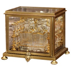 19th Century French Napoleon III Gilt Bronze and Glass Complete Cave a Liqueur