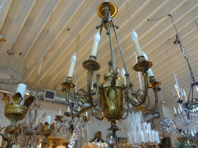 19th Century French Napoleon III Gilt Bronze Chandelier In Good Condition For Sale In Houston, TX