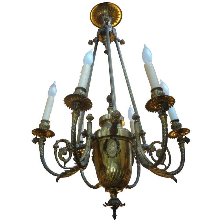 19th Century French Napoleon III Gilt Bronze Chandelier For Sale
