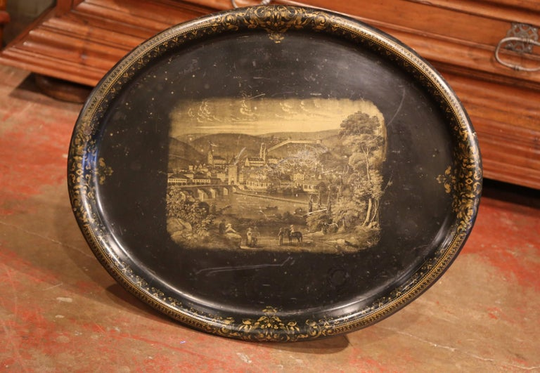 19th Century French Napoleon III Giltwood Base with Oval Hand Painted Tole Tray In Good Condition For Sale In Dallas, TX