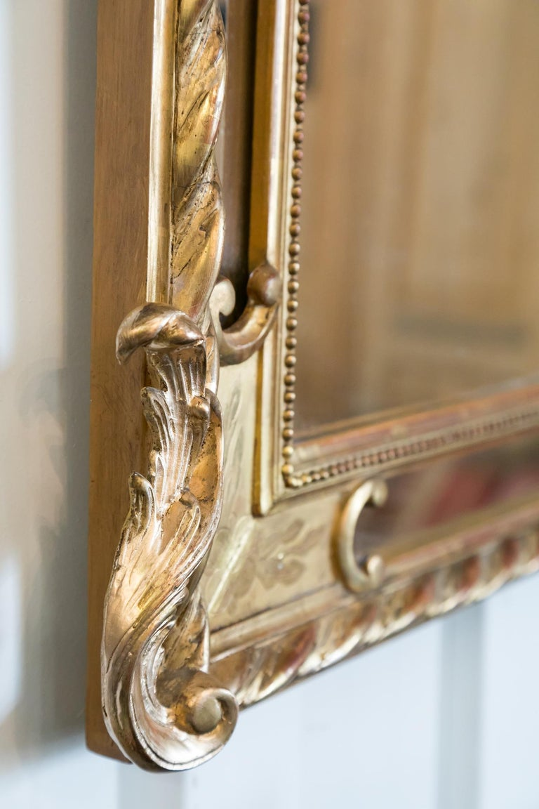 19th Century French Napoleon III Giltwood Pareclose Mirror For Sale 6