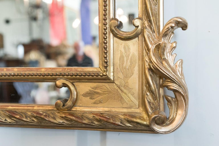 Mid-19th Century 19th Century French Napoleon III Giltwood Pareclose Mirror For Sale