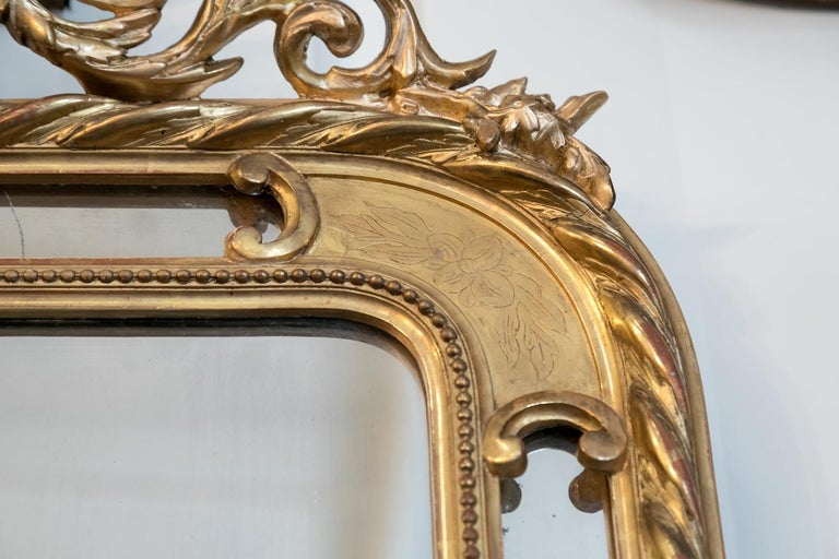 19th Century French Napoleon III Giltwood Pareclose Mirror For Sale 3