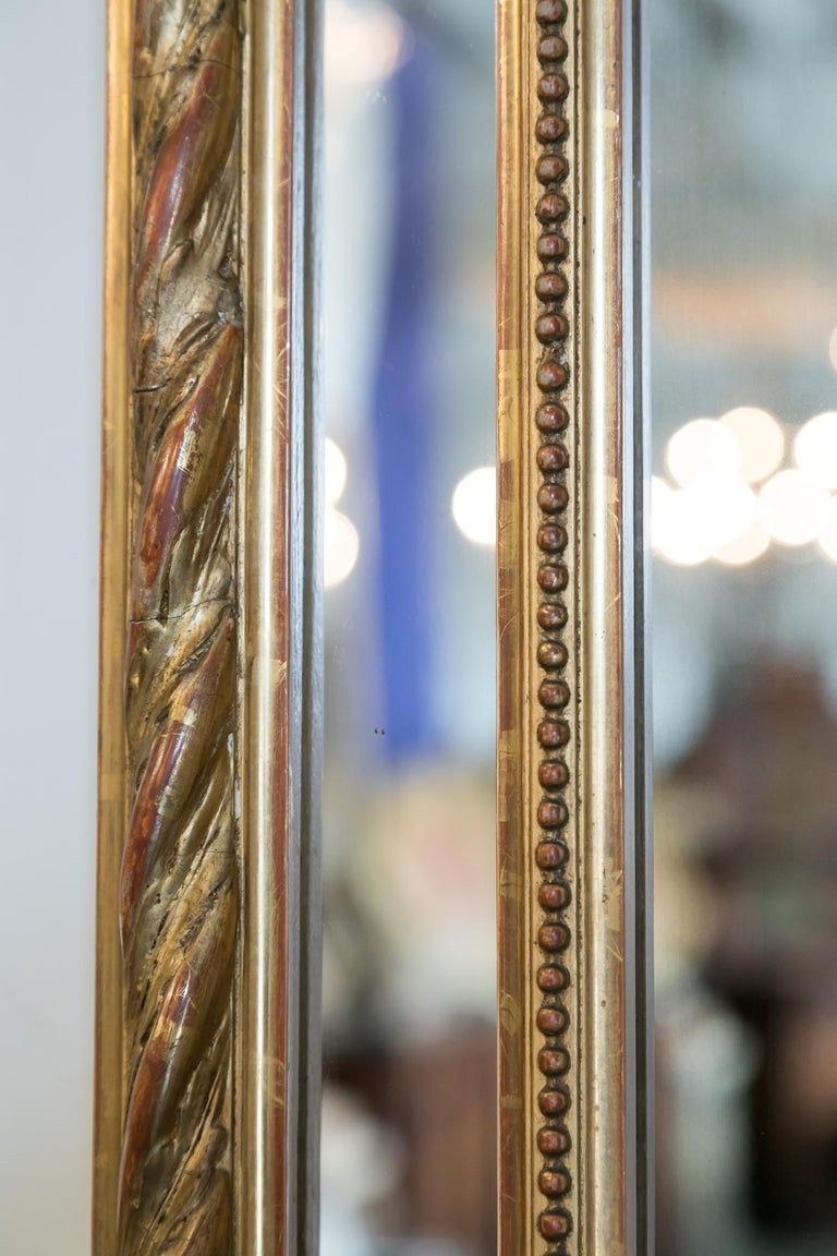 19th Century French Napoleon III Giltwood Pareclose Mirror For Sale 4