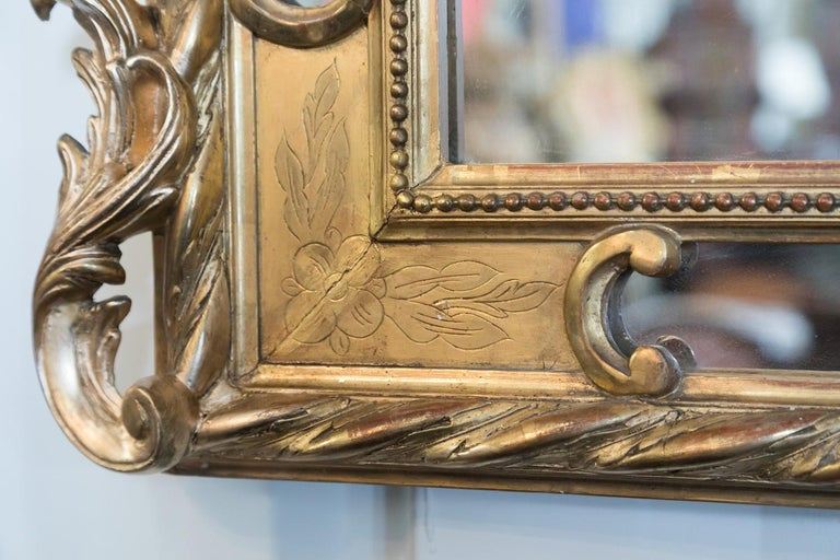 19th Century French Napoleon III Giltwood Pareclose Mirror For Sale 5