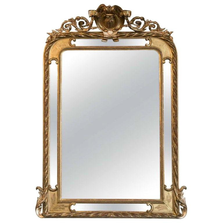19th Century French Napoleon III Giltwood Pareclose Mirror