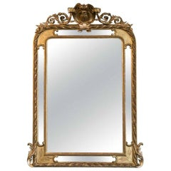 19th Century French Napoleon III Giltwood Pareclose Mirror