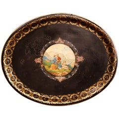 19th Century French Napoleon III Hand Painted Oval Tole Tray with Family Scene
