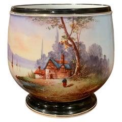 19th Century French Napoleon III Hand Painted Porcelain de Paris Cachepot
