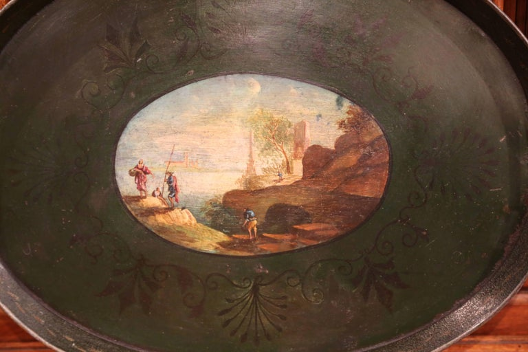 Patinated 19th Century French Napoleon III Hand Painted Tole Tray For Sale