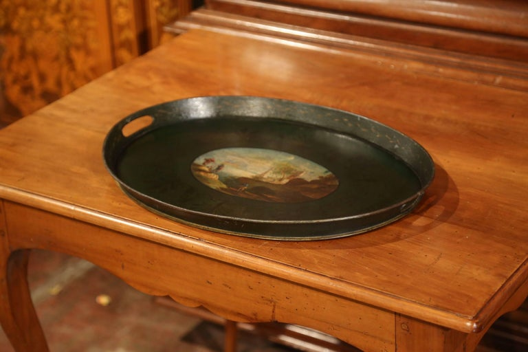 19th Century French Napoleon III Hand Painted Tole Tray In Excellent Condition For Sale In Dallas, TX