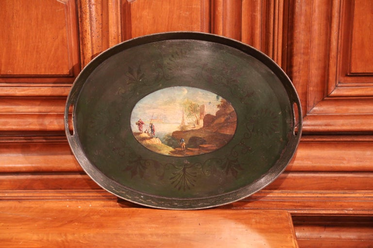Tôle 19th Century French Napoleon III Hand Painted Tole Tray For Sale