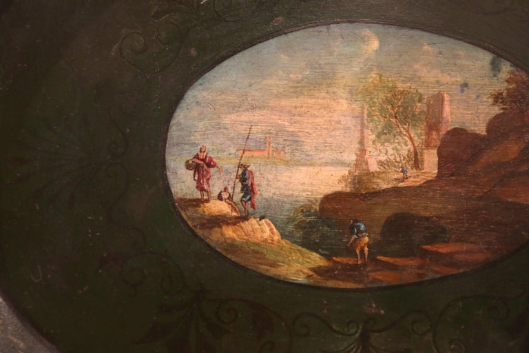 19th Century French Napoleon III Hand Painted Tole Tray For Sale 1