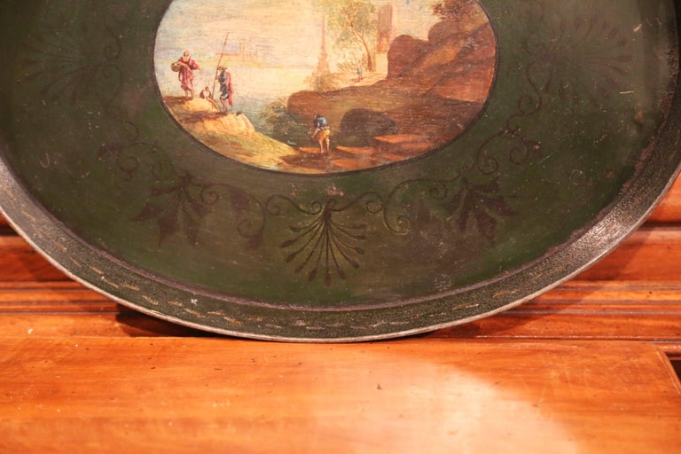 19th Century French Napoleon III Hand Painted Tole Tray For Sale 2