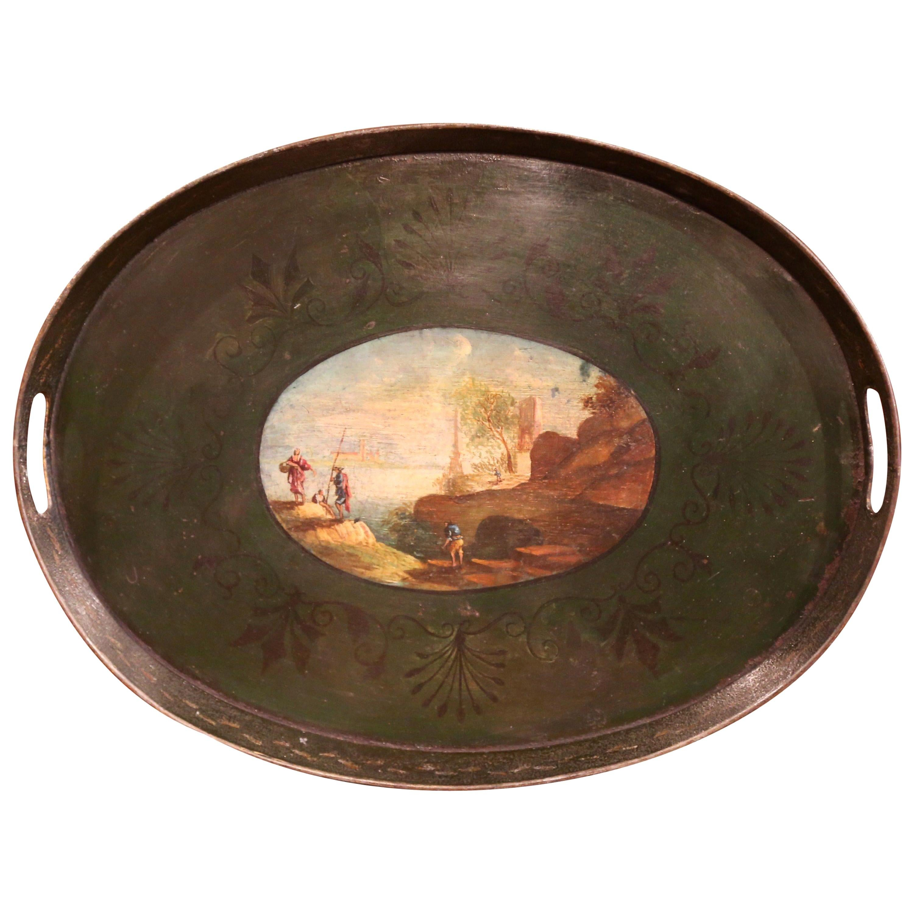19th Century French Napoleon III Hand Painted Tole Tray