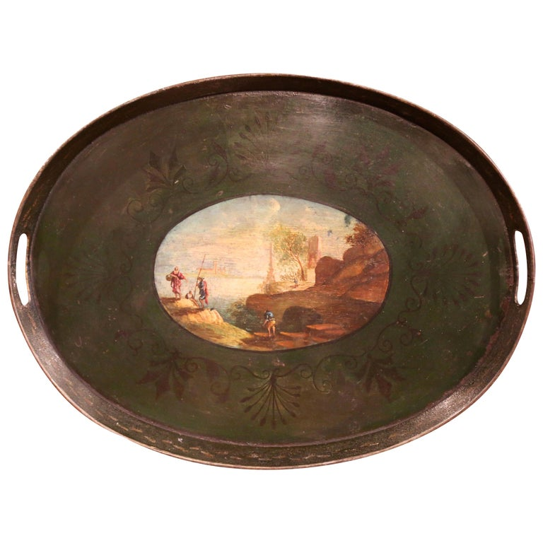 19th Century French Napoleon III Hand Painted Tole Tray For Sale