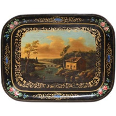 19th Century, French, Napoleon III Hand Painted Pastoral Scene Tole Tray