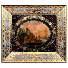 """19th Century, French Napoleon III Hand Painted Wall Clock with """"Églomisé"""" Glass"""