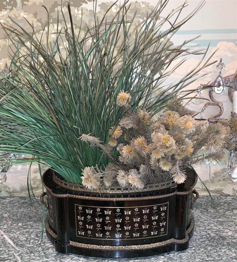 Excellent quality 19th century French Napoleon III ebonized planter with Fine mother of pearl inlays featuring flowers and butterflies. Accented with bronze trim and fancy gilt bronze handles,  circa 1880.