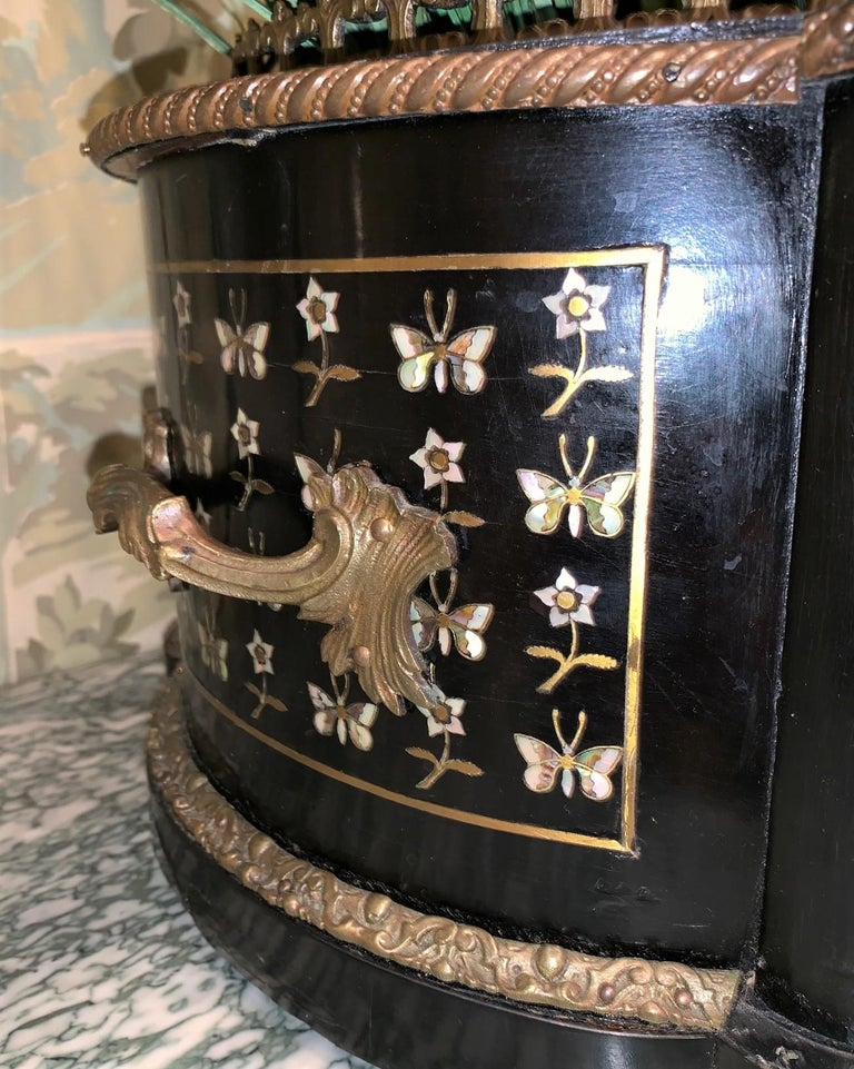 Cast 19th Century French Napoleon III Inlaid Planter For Sale