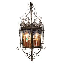 19th Century, French Napoleon III Iron and Stained Glass Four-Light Lantern