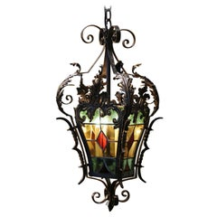 19th Century, French Napoleon III Iron and Stained Glass Three-Light Lantern