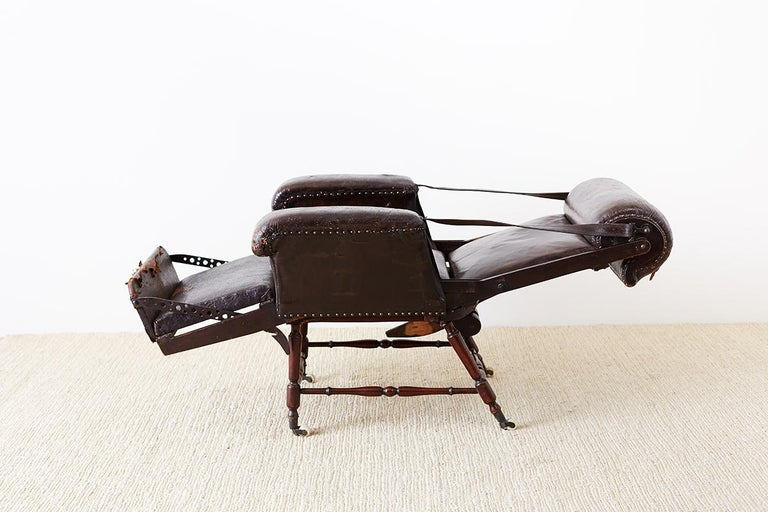 Hand-Crafted 19th Century French Napoleon III Leather Reclining Armchair For Sale