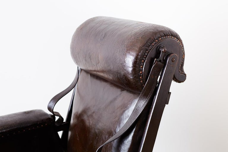 19th Century French Napoleon III Leather Reclining Armchair For Sale 3