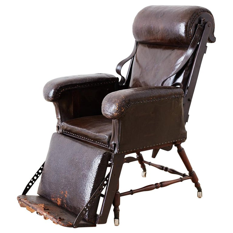 19th Century French Napoleon Iii Leather Reclining Armchair For Sale At 1stdibs