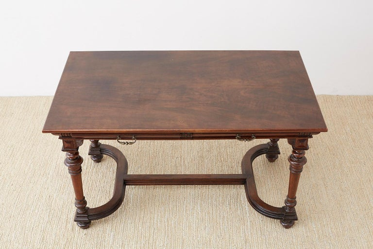 19th Century French Napoleon III Library or Writing Table In Good Condition For Sale In Oakland, CA