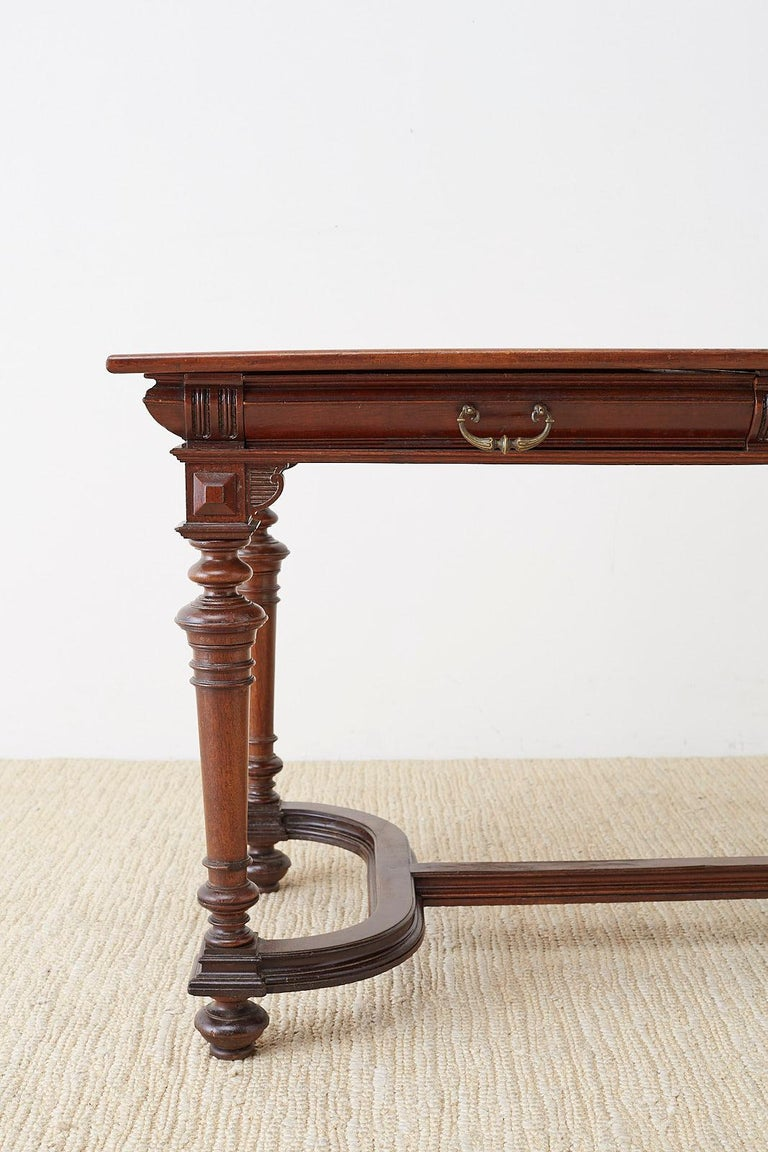 Walnut 19th Century French Napoleon III Library or Writing Table For Sale