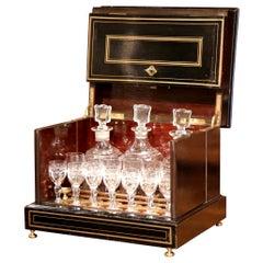 19th Century French Napoleon III Mahogany and Bronze Inlay Liquor Box