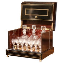 19th Century French Napoleon III Mahogany and Bronze Inlay Liquor Box