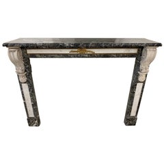 19th Century French Napoleon III Marble and Gilt Bronze Fire Place Mantel