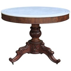 19th Century French Napoleon III Marble Top Center Table
